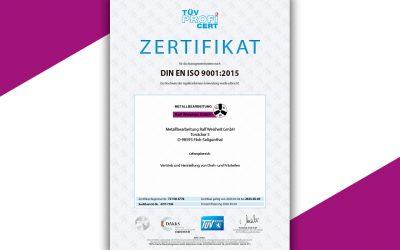 Wir sind ISO 9001 zertifiziert!